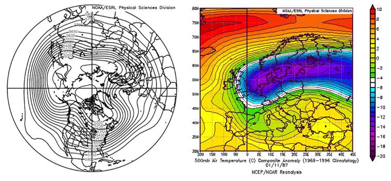 Obr. 40 Priemerné rozloženie tlaku vzduchu v januári 1987 a odchýlka teploty  vzduchu dňa 11.1.1987 v hladine 500 hPa (asi 5500 m n m.) 28cee6f6b2a